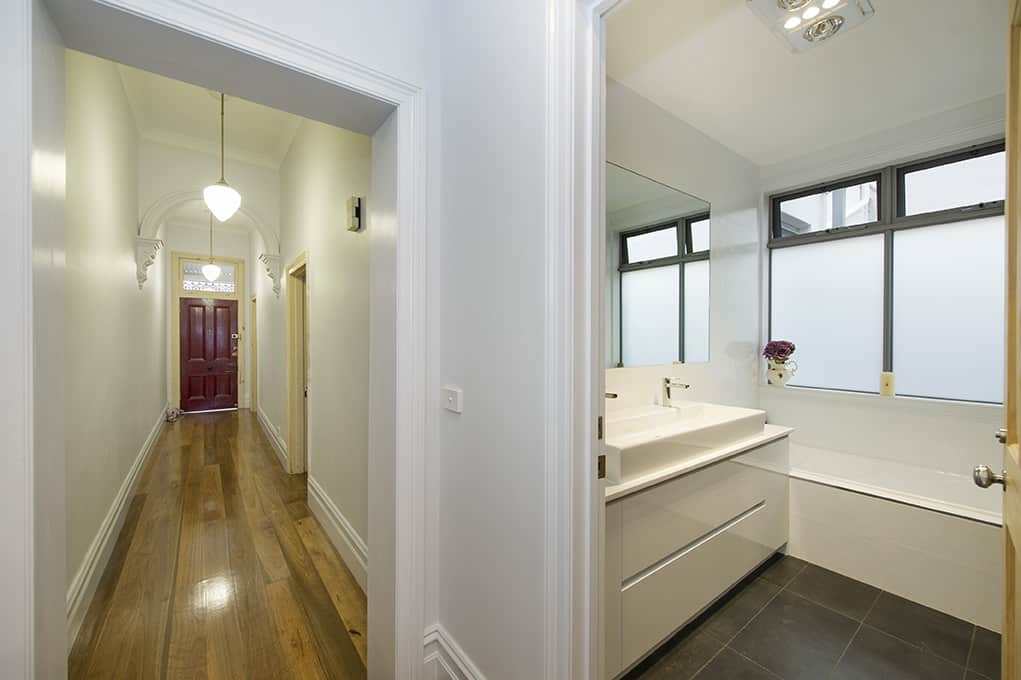 Fitzroy renovation hallway bathroom melbourne